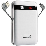 Callmate Power Bank Black Border in-Built Charging Cable 13000 mah – White – 6 Months Warranty