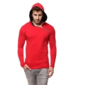 Gritstones Red/Black Cotton Hooded T-Shirt