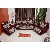 Manvi Creations Maroon Floral Design 5 Seater sofa Cover