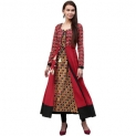 Jaipur Kurti Women's Maroon Cotton 2pc Kalidaar Long Kurta with Embroidery & heavy Tassels