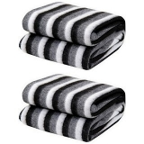 Black and White Stripe Single Bed Ac Fleece Blanket- set of 2