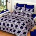 Choco Blue Check 3D Double Bedsheet Pack Of 1