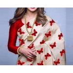 Bhuwal fashion Cream & Red Silk Printed Saree With Blouse