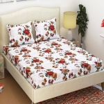 Azaani Beautiful 3D Printed White Floral Grace Cotton Double Bedsheet With Two Pillow covers