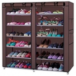 Traders5253 Brown Foldable Shoe Rack (6 Layers)