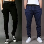Black & Navy Blue Cotton Blend Trackpants (Pack of 2)