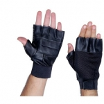 Black Leather Gym Gloves – Free Size