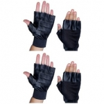 Leather Black Gym Gloves (Set Of 2)