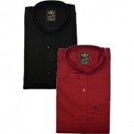 Freaky Men's Plain Black Maroon Casual Slimfit Poly-Cotton Shirts