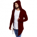 Solid Cotton Hood Slim Fit Full Sleeve Men's Cardigan