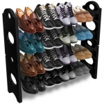 4 Layer Portable Plastic Shoe Rack / Shoe Cabinet / Shoe Organizer, Foldable , Black