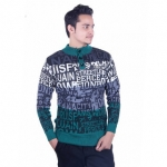 Oh Yes Printed Round Neck Casual Men's Green,Black Sweater