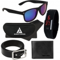 Blue Wayfarer Medium Sunglasses with free Silicone digital LED band watch+Wallet+Belt