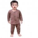 Baby Winter Wear Brown Color Front Button Thermal Suit