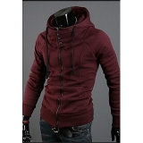 Generic Men's Wine Red Polyester Blend Hooded Sweater