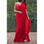 Pari Designer red color Ruffle Saree