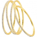 JewelMaze Austrian Stone Gold Plated Set Of 4 Bangle Set