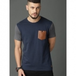 29K Men's Blue & Grey Cotton Blend Round Neck T-Shirts