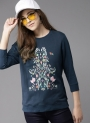 Navy Blue Self Design Sweatshirt