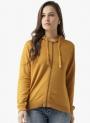 Mustard Solid Hooded Sweatshirt