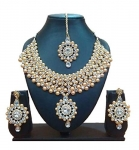 Urbanela Party Wear Crystal Choker Traditional Jewellery Necklace Set with Maang Tikka Earrings for Women