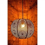 Gold Metal Zellige Moroccan Hanging Light by Logam