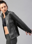 Charcoal Grey Solid Sporty Jacket with Thumbhole