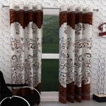 India FurnishPanel Design Brown Color Eyelet Curtain Door Length Set of 2