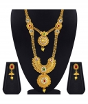 Asmitta Enchanting Red & Green Kundan Gold Plated Opera Style Double Strand Artificial Necklace Jewellery Set