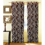 iLiv Brown Lehar Door Curtain 7Ft – 1Pc