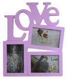 Pink 3 Slot Love Photo Frame