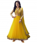 Yellow and Beige Net Anarkali Semi-Stitched Suit
