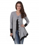 Texco Cotton Blend Grey Buttoned Cardigans