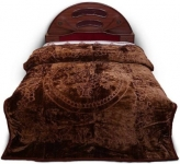 A R Floral Double Mink Blanket  (Microfiber, Coffee Brown)
