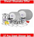 Airan Stainless steel Dinner Sets – Set of 37 , Silver