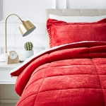 Micromink Sherpa Comforter Set – Twin, Red