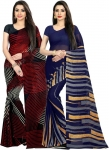 Printed Fashion Faux Georgette Saree  (Pack of 2, Multicolor)