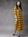 Women Mustard Yellow & Black Printed A-line Fusion Kurta