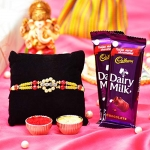 Artificial Silver Stones Rakhi with White Pearl