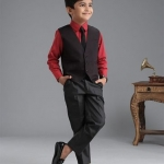 3 Piece Party Suit With Tie – Red For Boys