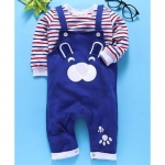 Dungaree Style Romper With Stripe Tee Bear Design