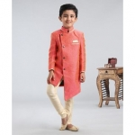 Asymmetric Style Solid Sherwani With Pocket Square