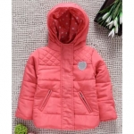 Full Sleevess Hooded Padded Jacket Heart Print & Patch