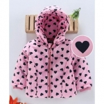Full Sleeves Hooded Padded Jacket Heart Print – Pink