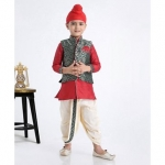 Kurta & Dhoti With Zardosi Jacket – Red