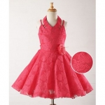 Halter Neck Embroidered Party Wear Dress