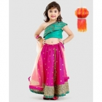 Off Shoulder Choli & Brocade Lehenga With Dupatta