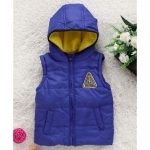 Sleeveless Hooded Puffy Jacket – Blue