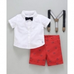 Babyoye Half Sleeves Shirt Shorts Suspenders & Bow