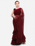 Maroon Solid Poly Georgette Saree
